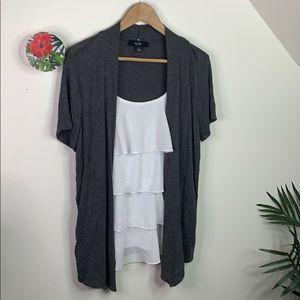 Naif Layer Ruffle Blouse Sweater Combo L